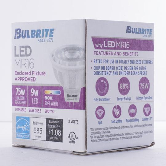 Soft White 9W GU5.3 Base 2700K Bulbrite 771325 LED9MR16SP15//75//830//D LED Dimmable MR16 Light Bulb